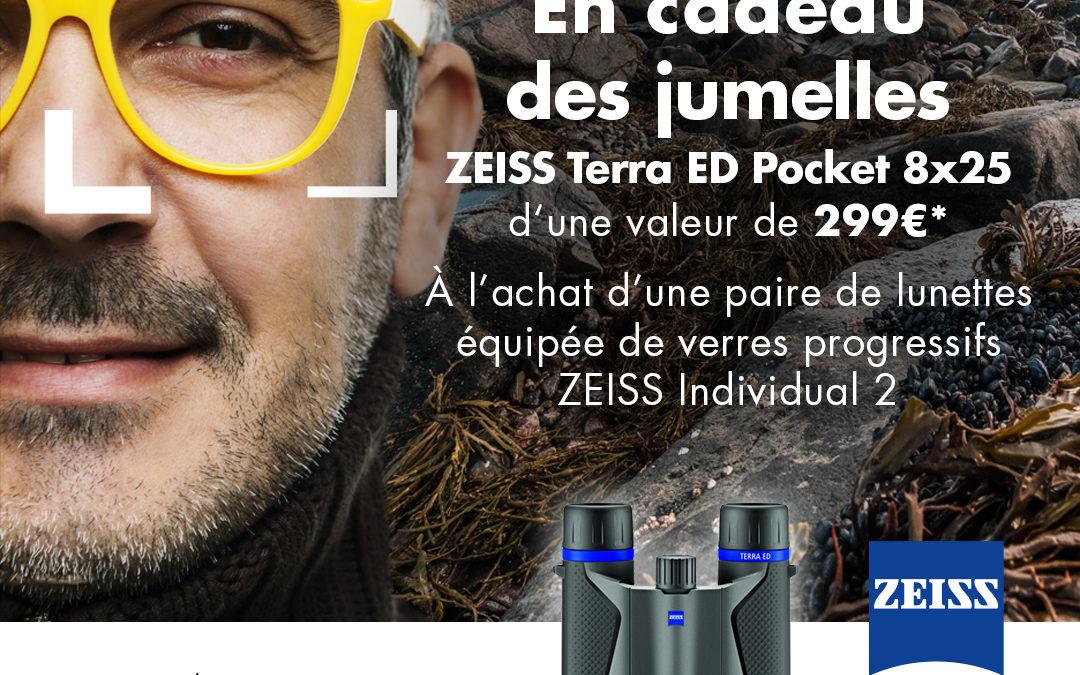 Jumelles Zeiss offertes à l'achat de verres progressifs Zeiss Indivudual2 DVP/Blue